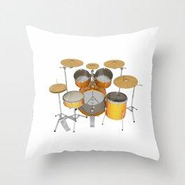 Yellow Drum Kit Throw Pillow