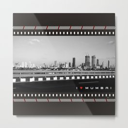I Love Mumbai- BW Mumbai Skyline Metal Print