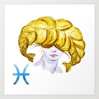 pisces Art Prints featuring Pisces by Aloke Design