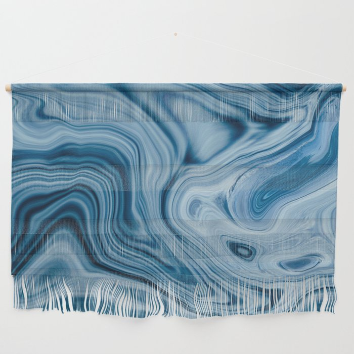 Splash of Blue Swirls, Digital Fluid Art Graphic Design Wall Hanging