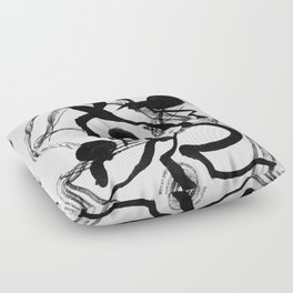 Abstract Black Strokes Floor Pillow