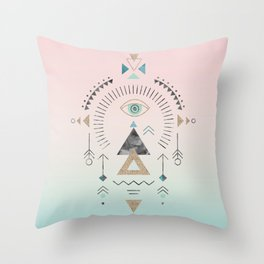Magic Tribal Ornament Soft Pastels And Gold Throw Pillow