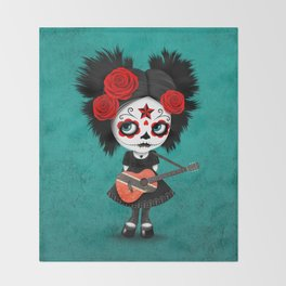 Day of the Dead Girl Playing Trinidadian Flag Guitar Throw Blanket