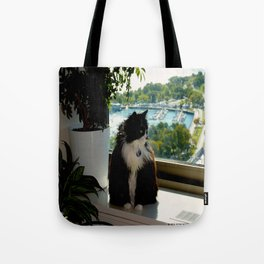 Contemplating Cat (Gracie Queen of Chicago Collection) Tote Bag