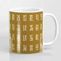 sci fi Mugs featuring Sci-Fi Glyphs by Lestaret