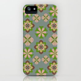 Abstract seamless floral ornaments pattern version gray iPhone Case