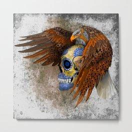 Indian Native Eagle Sugar Skull Metal Print