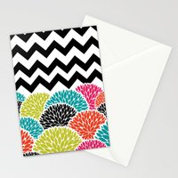 Tropical Flowers Chevron Stationery Cards