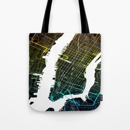 Colourful City Map of New York, USA Tote Bag