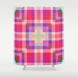 Bright Pink Geometric Shower Curtain
