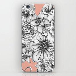 B&W Flowers Coral iPhone Skin