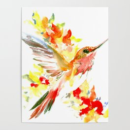 Hummingbird and Flame Colored Flowers, yellow red floral art design Poster