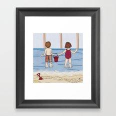 Embroidered Beach Illustration Framed Art Print