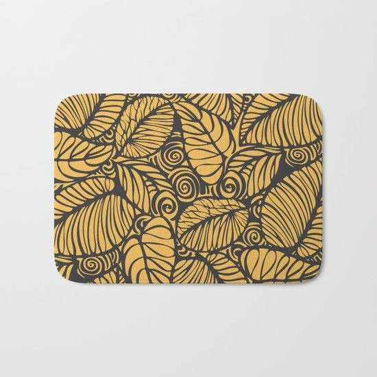 Summer Leaves Gold Bath Mat