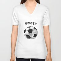 soccer V-neck T-shirts featuring Soccer by Matthias Leutwyler