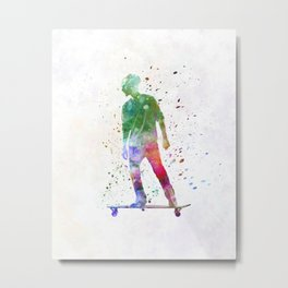Man skateboard 08 in watercolor Metal Print