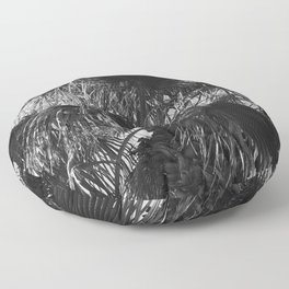 Sensual Palm Tree Leaves in Humid Night Sky Floor Pillow