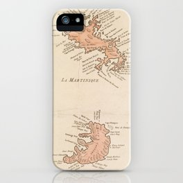 Vintage Map of St Lucia & Martinique (1781) iPhone Case