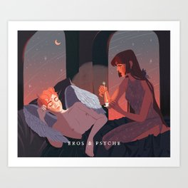 Greek Mythology Eros & Psyche Art Print
