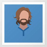 pirlo Art Prints featuring Minimalist World Cup - Pirlo by Nuff
