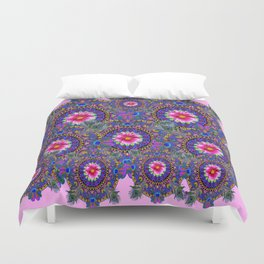 PINK & BLUE #2 PEACOCK MANDALAS WITH  FUCHSIA FLOWER ART Duvet Cover
