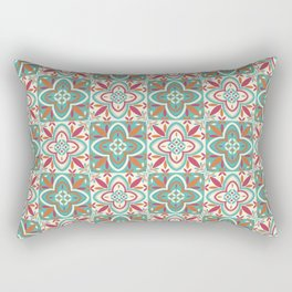 Peranakan Art Nouveau Tiles (Floral Star in Candied Colours) Rectangular Pillow