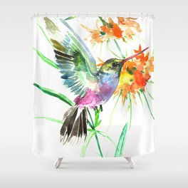 Hummignbird and Flowers Shower Curtain