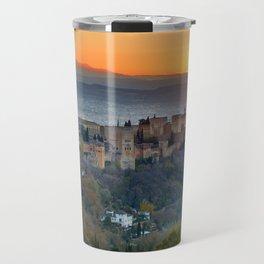 Red sunset at The Alhambra Palace Travel Mug