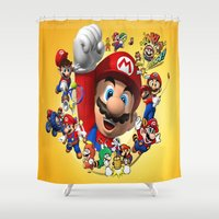 super mario Shower Curtains featuring super mario  , super mario  games, super mario  blanket, super mario  duvet cover, super mario  show by ira gora