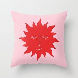 Radiate Positivity Summer Sun Print Red Pink Pattern Throw Pillow