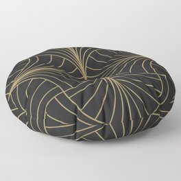 Diamond Series Inter Wave Gold on Charcoal Floor Pillow