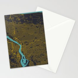 Portland, OR City Map, Yellow/Navy Stationery Cards