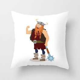Red-bearded fat viking with a mace Throw Pillow