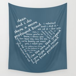 Quotes of the Heart - Destiel (White) Wall Tapestry