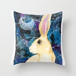 Rabbit Traveler Throw Pillow