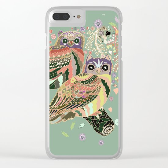 twin owls Clear iPhone Case