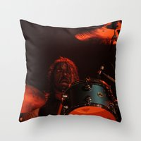 dave grohl Throw Pillows featuring dave grohl by Hattie Trott