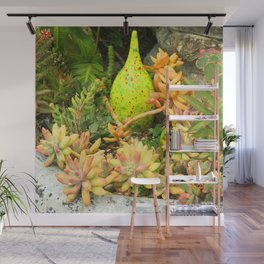 Contemporary, Colorful Succulents in Vintage Clay Pot Wall Mural