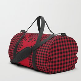 Red Plaid Deer Stag Design Duffle Bag