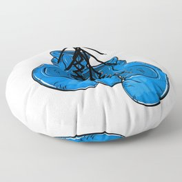 Blue boxing gloves hanging on a nail Floor Pillow