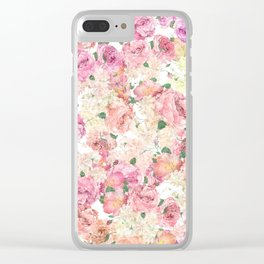 Flowers, Floral Explosion, Floral Pattern, Pink Flowers Clear iPhone Case