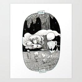 Four of Mugs Skeleton Tarot Art Print