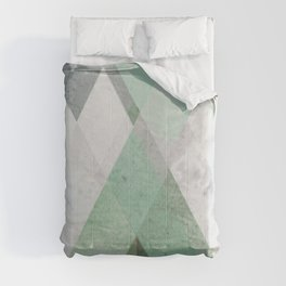 MINT TEAL GRAY CONCRETE abstract Comforters