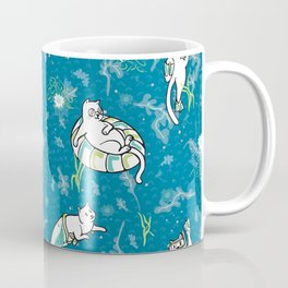 Ocean Aqua Magical Purrmaid Diving Cats Cartoon Coffee Mug