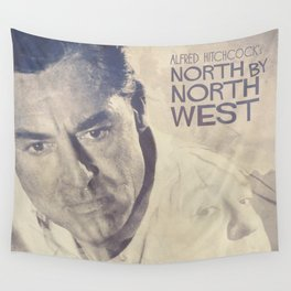 North by Northwest, Alfred Hitchcock, vintage movie poster, Cary Grant, minimalist Wall Tapestry