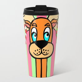 Spud the Christmas Reindeer with Green Pink Stripes Travel Mug