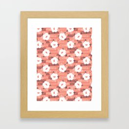 Hand drawn bold coral white spring flower blooms Framed Art Print