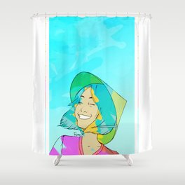 Asian girl laughing Shower Curtain