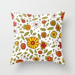 Spring Flitty Flowers Throw Pillow