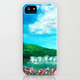 Spring Waterfall Painting iPhone Case